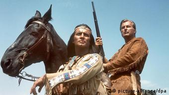 Actors Pierre Brice as Apache chief Winnetou and Lex Barker as Old Shatterhand in a scene from a Karly May film