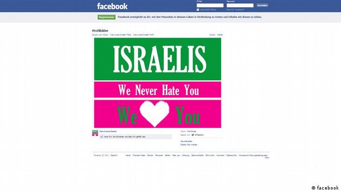 Ein Screenshot der Screenshot der Facebbokseite mit dem Schriftzug: Israelis we never hate you. We love you.