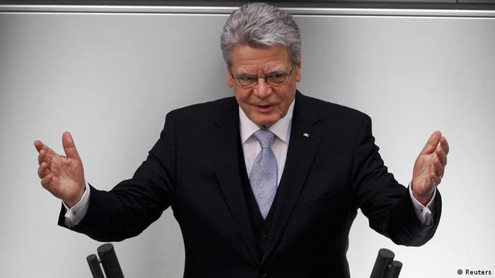 Newly elected German President Joachim Gauck makes a speech after his swearing-in ceremony on March 23, 2012 Photo: REUTERS/Thomas Peter