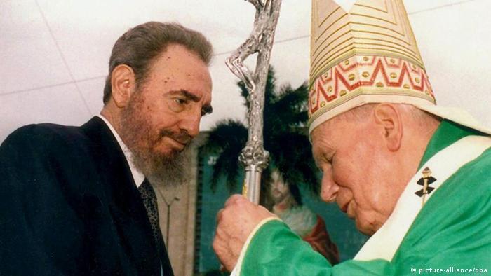 Fidel Castro e papa João Paulo 2°