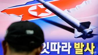 A South Korean watches a television broadcasting about a North Korea launch missile 2009. (AP Photo/ Lee Jin-man)