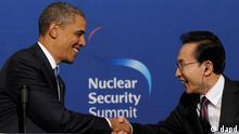 باراک اوباما و لی میونگ با، رئیسان جمهوری آمریکا و کرهی جنوبی، در سئول