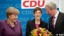 Angela Merkel Annegret Kramp-Karrenbauer Wahlen Saarland Empfang Berlin