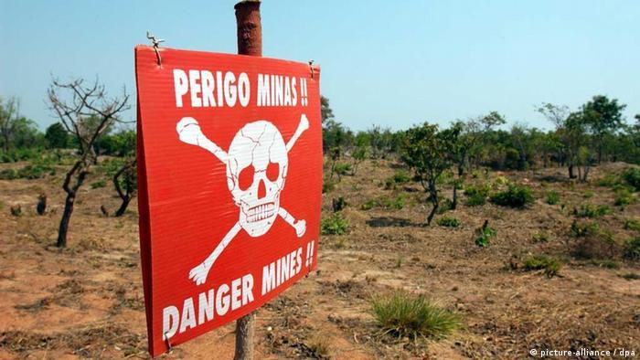 Warning sign near minefield in Angola