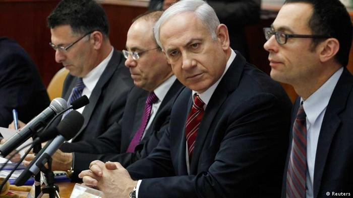 Israel's Prime Minister Benjamin Netanyahu (2nd R) attends the weekly cabinet meeting in Jerusalem March 25, 2012. REUTERS/Gali Tibbon/Pool (JERUSALEM - Tags: POLITICS)