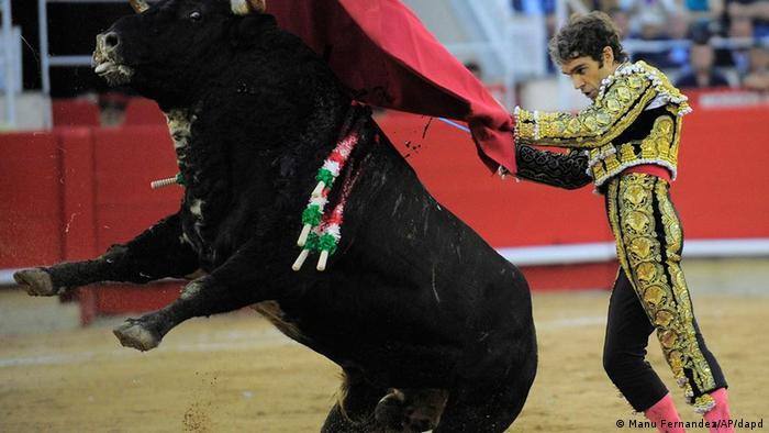 Spanish bullfighter Jose Tomas performs in the final bullfight to be held in the region of Catalonia at the Monumental bullring in Barcelona, Spain, Sunday, Sept. 25, 2011. Spain's powerful northeastern region of Catalonia bids farewell Sunday to the country's emblematic tradition of bullfighting with a final bash at the Barcelona bullring. (Photo: ddp images/AP Photo/Manu Fernandez)