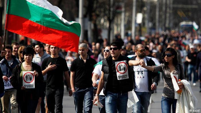 Bulgarien Demonstration in Sofia wegen hohe Benzinpreise (dapd)