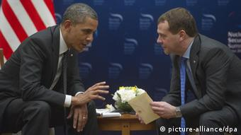 Russian President Dmitry Medvedev (right) and U.S.President Barack Obama pictured during their meeting held in Seoul as part of the Nuclear Security Summit March 26, 2012.