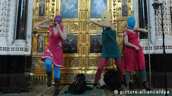 Pussy Riot inside Moscow's Cathedral of Christ the Savior (Photo: InterTass)