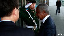 کوفی عنان در پکن. او موفق شده است موافقت چین و روسیه را با طرح خود جلب کند.