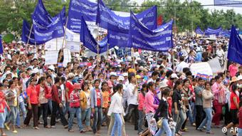 Protesters demonstrating against wages and conditions in the Cambodian garment industry