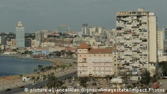 Skyline of buildings and harbor in Luanda, the capital of Angola
