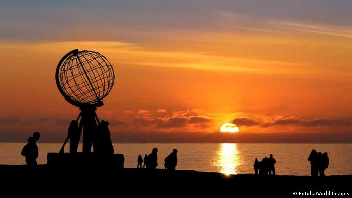 Midnight sun at the North Cape in Norway