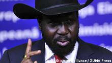 BRUSSELS, March 20, 2012 President of South Sudan Salva Kiir Mayardit speaks during a press briefing after meeting with President of European Commission Jose Manuel Barroso (not seen) at the EU headquarters in Brussels, capital of Belgium, March 20, 2012