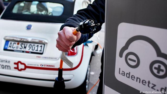 E-car being recharged at a public charging station