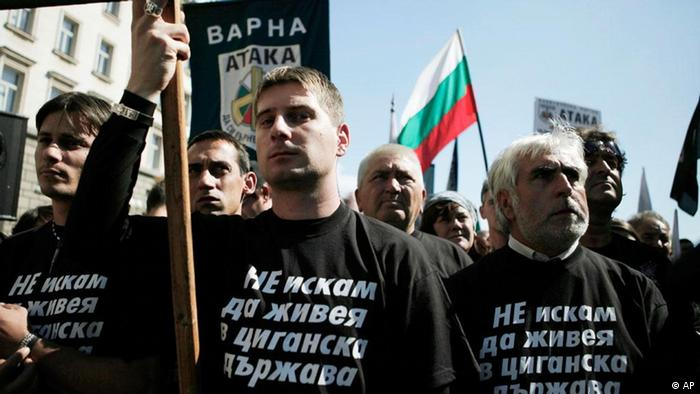 Members of of nationalist party Ataka wear T-shirst with the words I don't want to live in a Gypsy country during a protest in front Bulgarian Presidency building, Sofia, Saturday, Oct. 1, 2011. The Bulgarian President Georgi Parvanov's says the National Security Council is holding an emergency meeting to discuss rising ethnic tensions as nationalist groups stage anti-Roma rallies across the country. (ddp images/AP Photo/Valentina Petrova)
