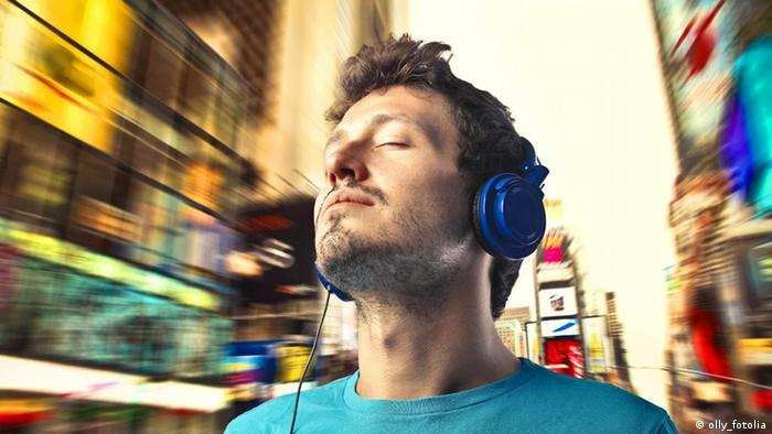 Man listening to music with his headphones on