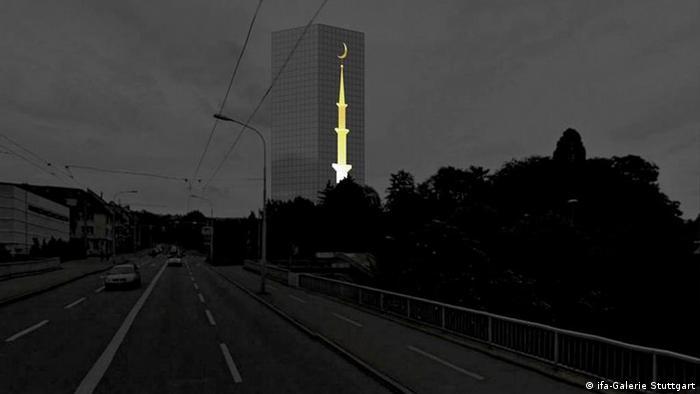 Projeto de edifício com minarete em Zurique, Suíça