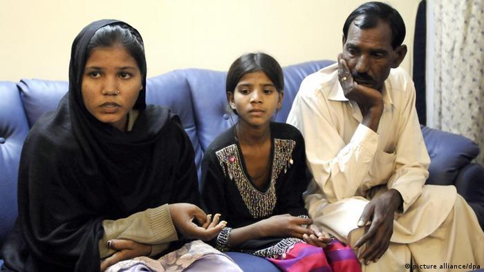 Family members of Asia Bibi, a Pakistani Christian minority women, who was sentenced to death by a local court for blasphemy on 8 November
