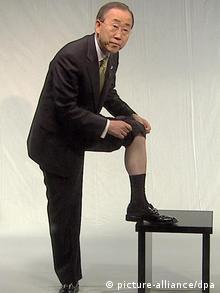 UN General Secretary Ban Ki-moon with rolled up pant leg