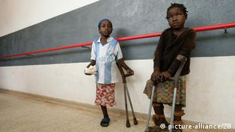 two children in Angloa, victims of landmines