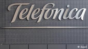 A sign reading Telefonica at the company's headquarters in Madrid