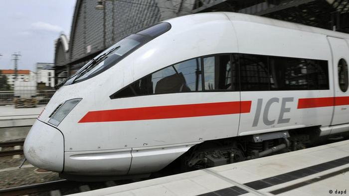 ICE high-speed train pulling out of station ddp images/AP Photo/Matthias Rietschel)