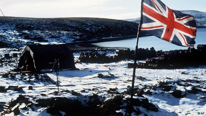 Falkland Islands - The Union Jack flies over Ajax Bay in 1982.