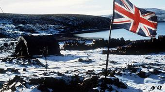 Falkland Islands - The Union Jack flies over Ajax Bay in 1982. (AP Photo/Archiv)