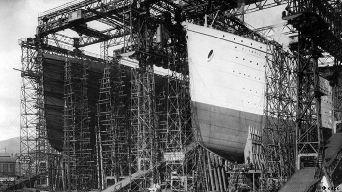 The ship under construction in Belfast