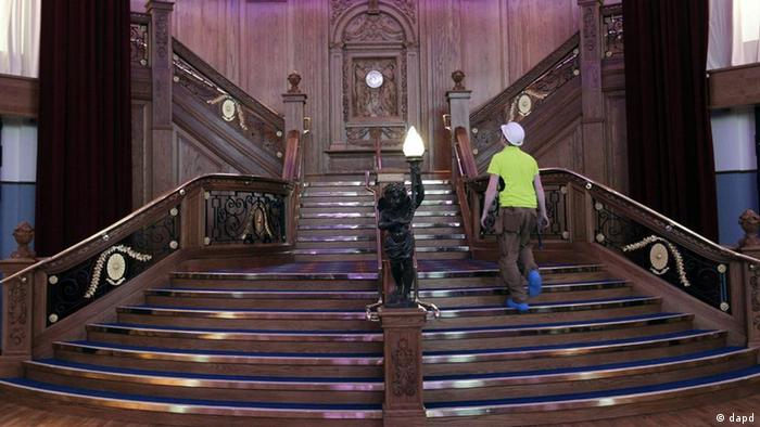A replica of the the staircase onboard the Titanic on display in the Titanic Belfast Visitor's Center