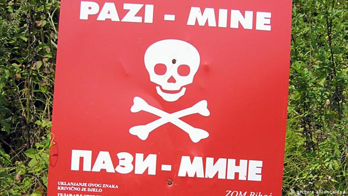 A mine warning sign