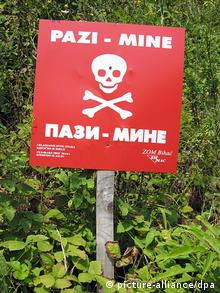 Mine warning sign in Bosnia