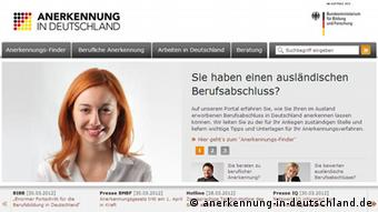 Screenshot http://www.anerkennung-in-deutschland.de