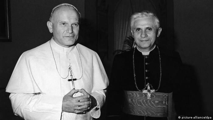 An undated picture of Pope John Paul II with Cardinal Joseph Ratzinger of Munich, Germany, who was named on November 25, 1981, Prefect of the Congregation for the Doctrine of the Faith and President of the Pontifical Biblical Commission and of the International Theological Commission, the former Holy Office (Foto von 1979). Mit einem Festgottesdienst im Petersdom in Rom feiert Papst Benedikt XVI. am Mittwoch (29. 06.11) den 60. Jahrestag seiner Priesterweihe. Foto: AP/dapd