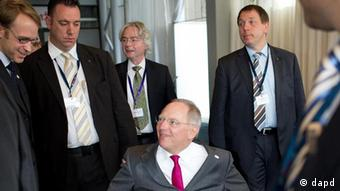 German Minister of Finance Wolfgang Schäuble after the second day of a eurozone finance ministers meeting