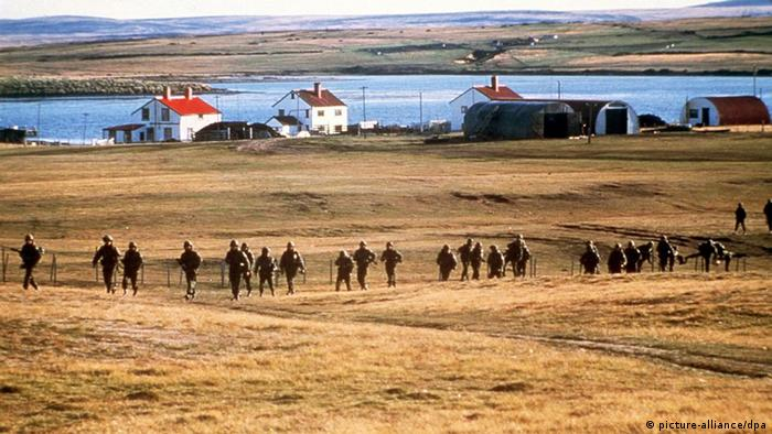 Argentine troops in the Falklands in 1982