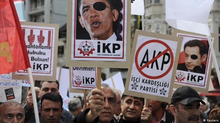 تظاهرات هواداران اسد در استانبول، همزمان با برگزاری نشست دوستان سوریه در ترکیه