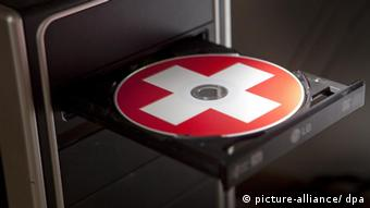 A CD with Swiss flag on it (photo: Frank Rumpenhorst dpa/lhe)