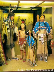 A diplay of mannequins dressed as Native Americans at the Karl May Museum