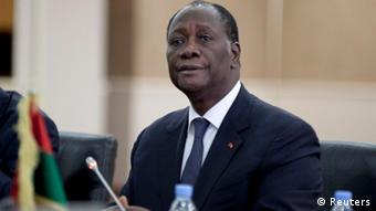 Ivory Coast's President Alassane Ouattara attends an extraordinary meeting of the Economic Community of West African States (Ecowas) in Senegal's capital Dakar, April 2, 2012. Senegal's Macky Sall took his oath as president of the West African country on Monday under the gaze of regional leaders due to hold emergency talks later on the crisis in neighbouring Mali. The ex-prime minister won nearly 66 percent in last month's run-off vote to defeat incumbent Abdoulaye Wade, his former mentor, in a tense election that nevertheless reinforced Senegal's credentials as the most stable democracy in mainland West Africa. REUTERS/Joe Penney (SENEGAL - Tags: POLITICS ELECTIONS)