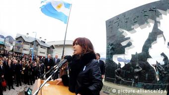 Argentinean president Cristina Fernandez Kirchner gives a speech in Ushuaia, Argentina, 02 April 2012, during an act on the commemoration of the 30th anniversary of the war with United Kingdom in the Falkland Islands