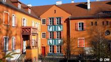 """Die Gartenstadt Falkenberg, auch """"Tuschkastensiedlung"""" genannt, ist eine Wohnsiedlung im Berliner Bezirk Treptow-Köpenick. Im Juli 2008 wurde sie als eine von sechs Wohnsiedlungen der Berliner Moderne in die UNESCO-Liste des Weltkulturerbes aufgenommen. Copyright: DW/Elżbieta Stasik Berlin, 22.03.2012"""