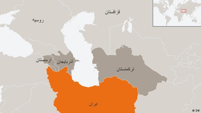 Karte Iran mit Nachbarländern Farsi (DW)