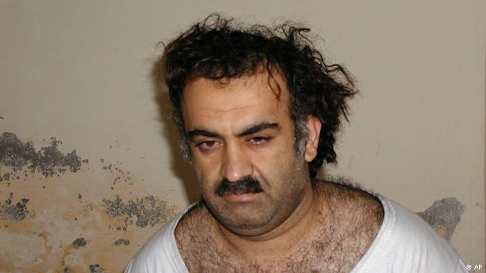 ** RETRANSMISSION TO CORRECT SPELLING of MIDDLE NAME ** FILE - In this image released May 7, 2003, Khalid Sheikh Mohammed, al-Qaida's No.3, operational leader, and alleged Sept. 11 mastermind, is seen shortly after his CIA capture during a raid in Pakistan March 1, 2003. Months later Mohammed acknowledged knowing his one-time protege, Abu Ahmed al-Kuwaiti, but denied he was an al-Qaida figure of any importance. The CIA suspected a lie and reasoned that if they could find al-Kuwaiti, they could find bin Laden. Al-Kuwaiti, who had become one of al-Qaida's most important couriers, eventually and unwittingly led the agency to Osama bin Laden's doorstep in Pakistan. (AP Photo/File).