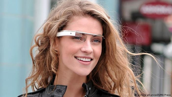 April 4, 2012 - A model wears a Google Glass. Google finally acknowledged that it's testing a prototype set of eyeglasses that can stream data to the wearer's eyes in real time