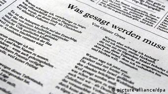 Image of poem as printed by the Süddeutsche Zeitung