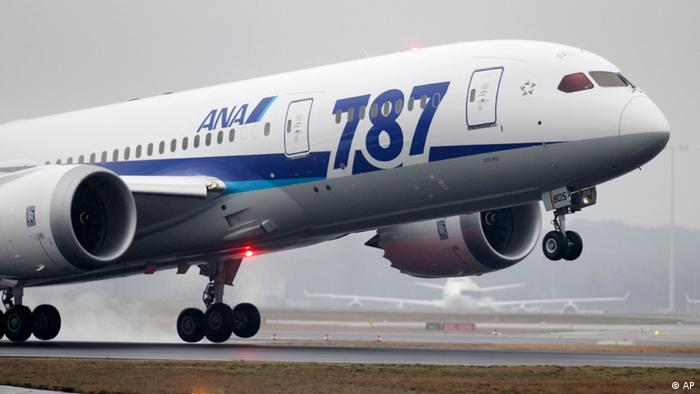 A Boeing 787 of All Nippon Airways takes off to Tokyo's Haneda airport, Japan, at the airport in Frankfurt, Germany, Saturday, Jan. 21, 2012. It is the first intercontinental flight of the so-called Dreamliner. (AP Photo/Michael Probst)