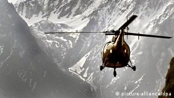 A Pakistan Army helicopter flying in the outskirts of Skardu near Siachen