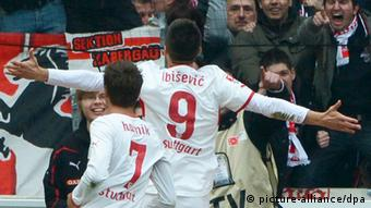 Vedad Ibisevic runs to the crowd after scoring for Stuttgart